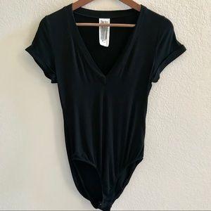 Free People Black Short Sleeve Bodysuit